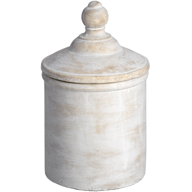 Large Antique White Stone Storage Cannister