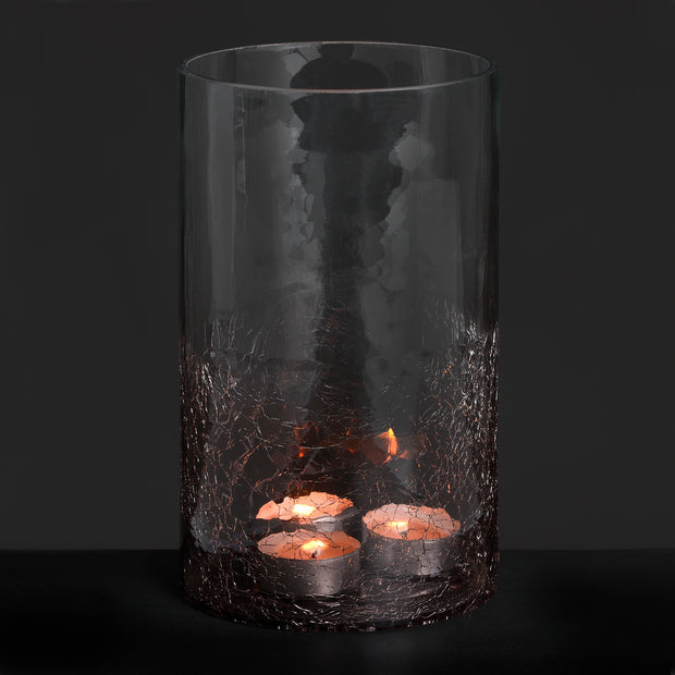 Medium Smoked Crackle Effect Candle Holder
