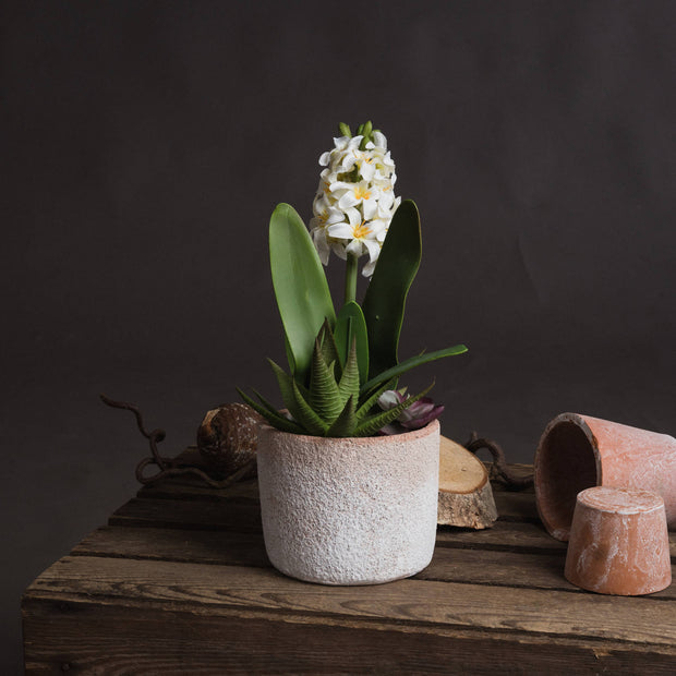 Potted White Hyacinth Artificial Plant In Stoneware Pot