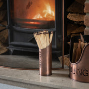 Copper Finish Logs And Kindling Buckets & Matchstick Holder