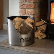 Log & Kindling Buckets With Matchstick Holder In Aged Pewter Set