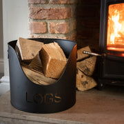 Black Finish Logs And Kindling Buckets & Matchstick Holder