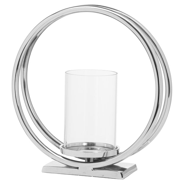 Contemporary Silver Twin loop Candle Holder