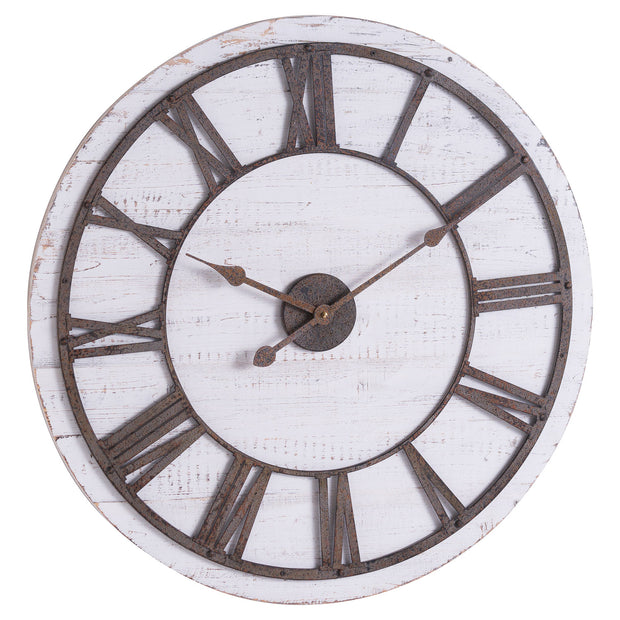 Rustic Wooden Clock With Aged Numerals And Hands