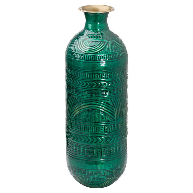 Tall Aztec Emerald Brass Embossed Ceramic Dipped Lebes Vase