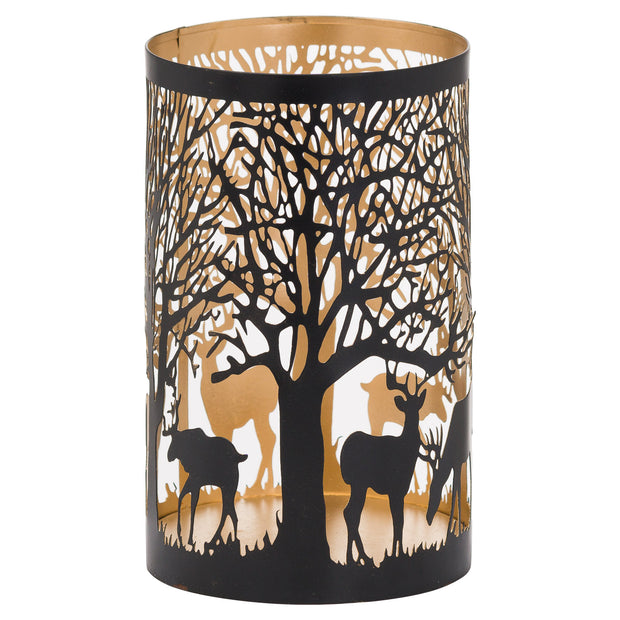 Large Stag In Forest Candle Lantern