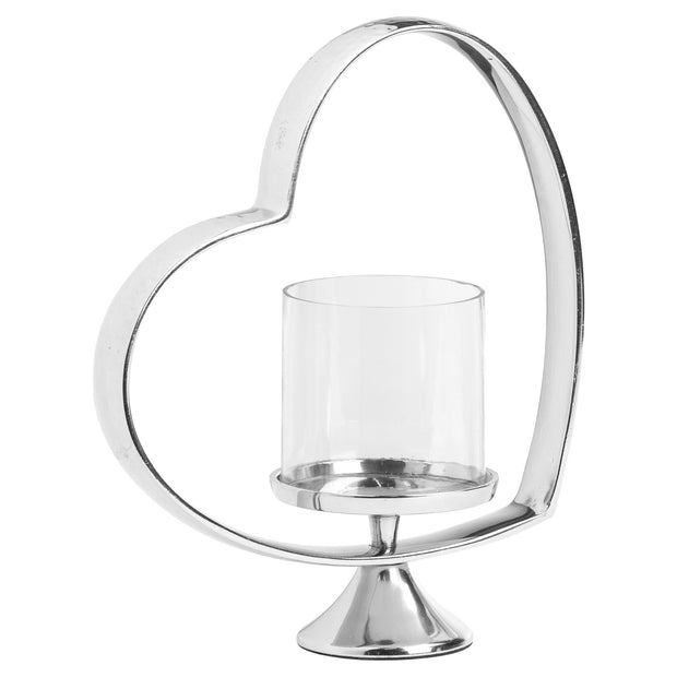 Large Heart Shaped Nickel Plated Candle Holder