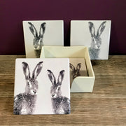 Set Of 4 Ceramic Hare Coasters