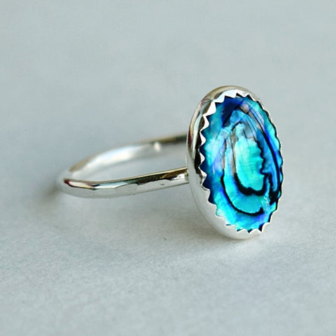 Blue Abalone Cocktail Ring