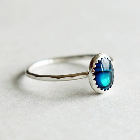 Blue Abalone Stacking Ring | oval