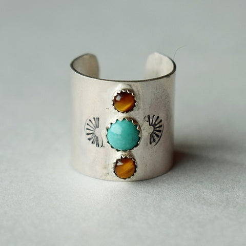 Third Eye Ring - green turquoise/tigers eye