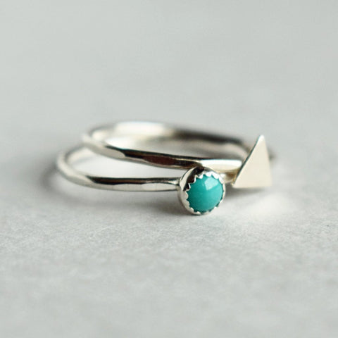 Stacking Ring Set | turquoise and triangle