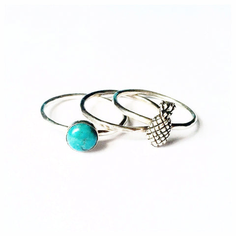 Stacking Ring Set | Turquoise + Pineapple