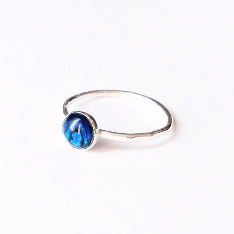 Blue Abalone Stacking Ring | round