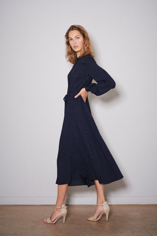 SWAN DRESS navy with white dots viscose