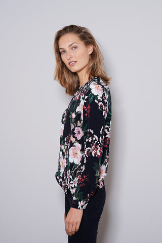 HALF MOON BLOUSE  black flowers