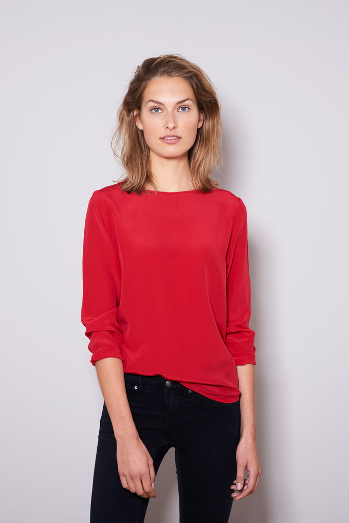 BASIC LONGSLEEVE lipstick red silk