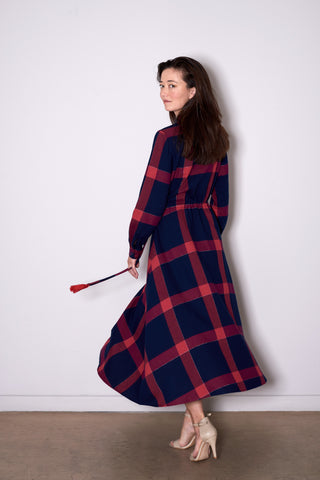 SIENNA DRESS long navy with red check