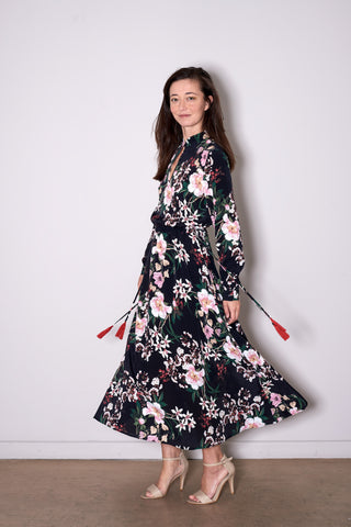 SIENNA DRESS long black flowers