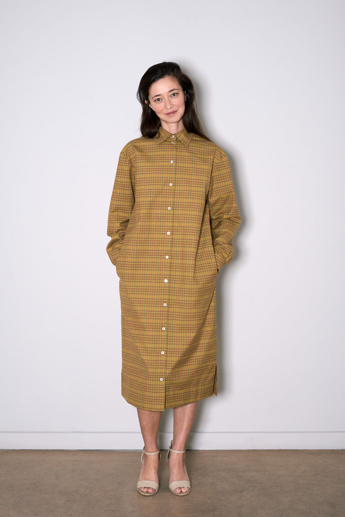 SIMPLE SHIRT DRESS beige check