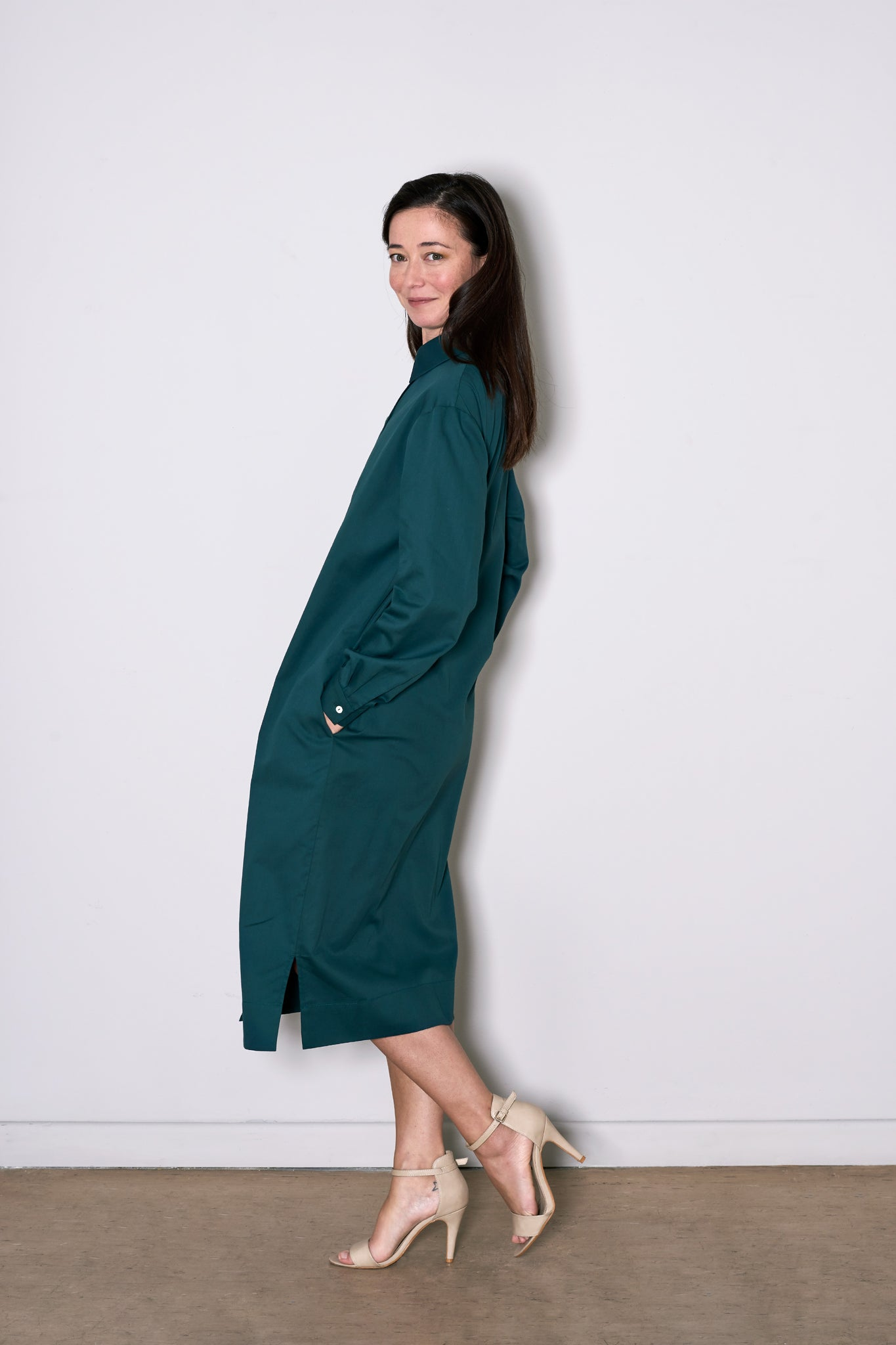 SIMPLE SHIRT DRESS green