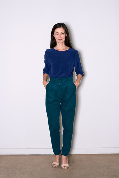 LADIES PLEAT PANTS petrol green corduroy