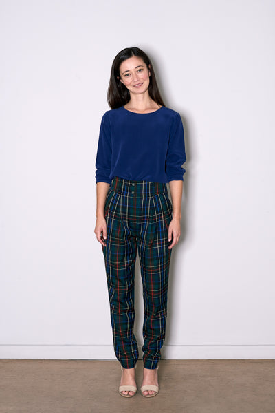 LADIES PLEAT PANTS dark tartan