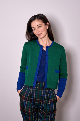 TWO TONE CARDIGAN green/blue