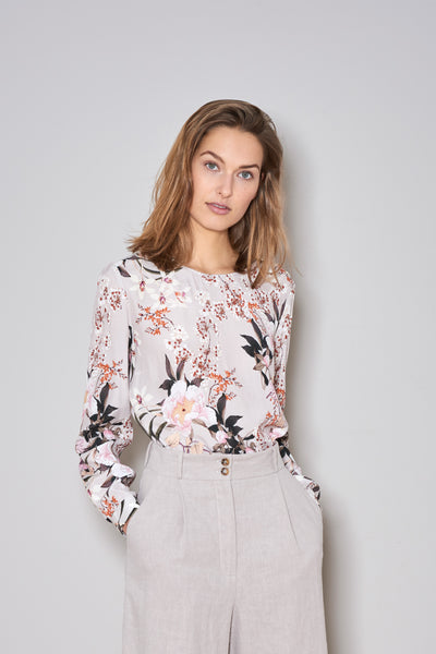 MELIA BLOUSE nude flowers viscose