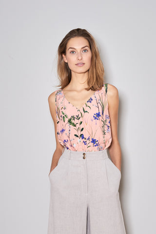 V-SUMMER TOP blush flowers viscose