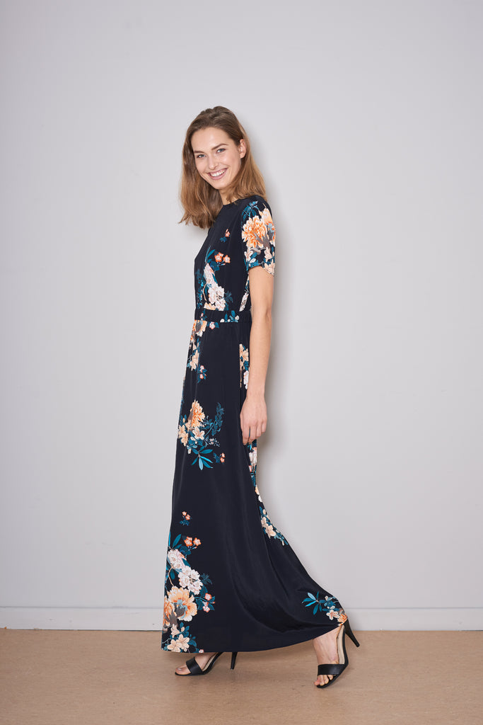 PAXTONIA MAXI DRESS black peony viscose