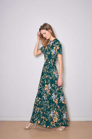PAXTONIA MAXI DRESS green flowers viscose