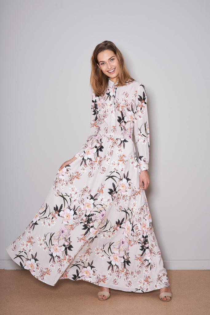 SWAN MAXI DRESS nude flowers