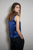 V-SUMMER TOP blue satin