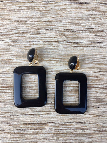 RECTANGLE EARRINGS black