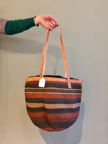 SISAL SHOPPER brown stripes