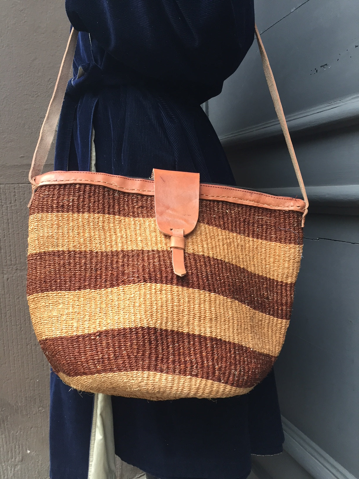 SISAL SHOPPER chestnut sand stripes