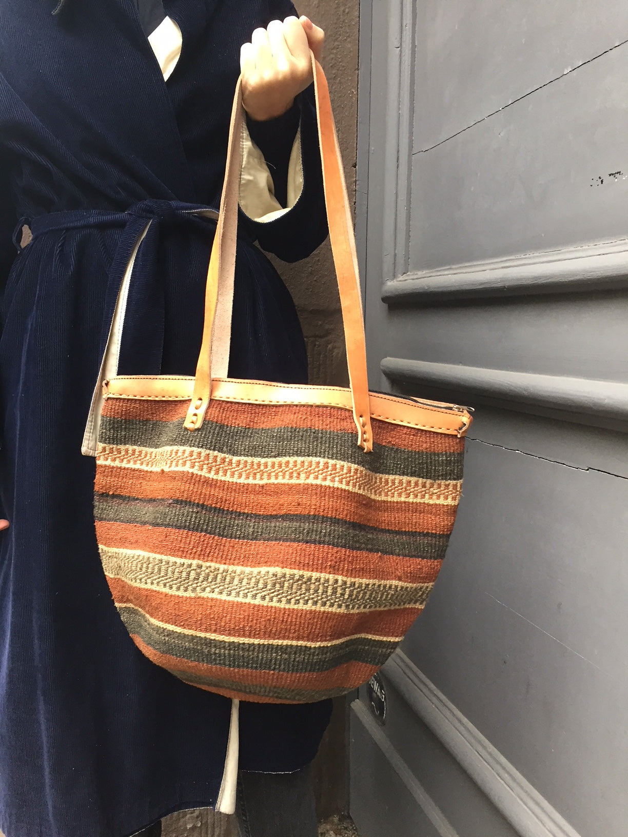 SISAL SHOPPER chestnut stripes