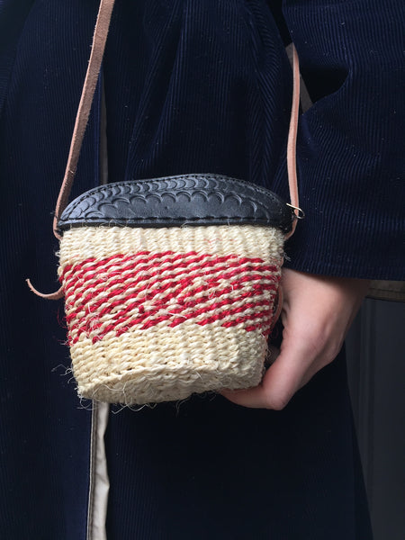 MINI SISAL PURSE light beige with red