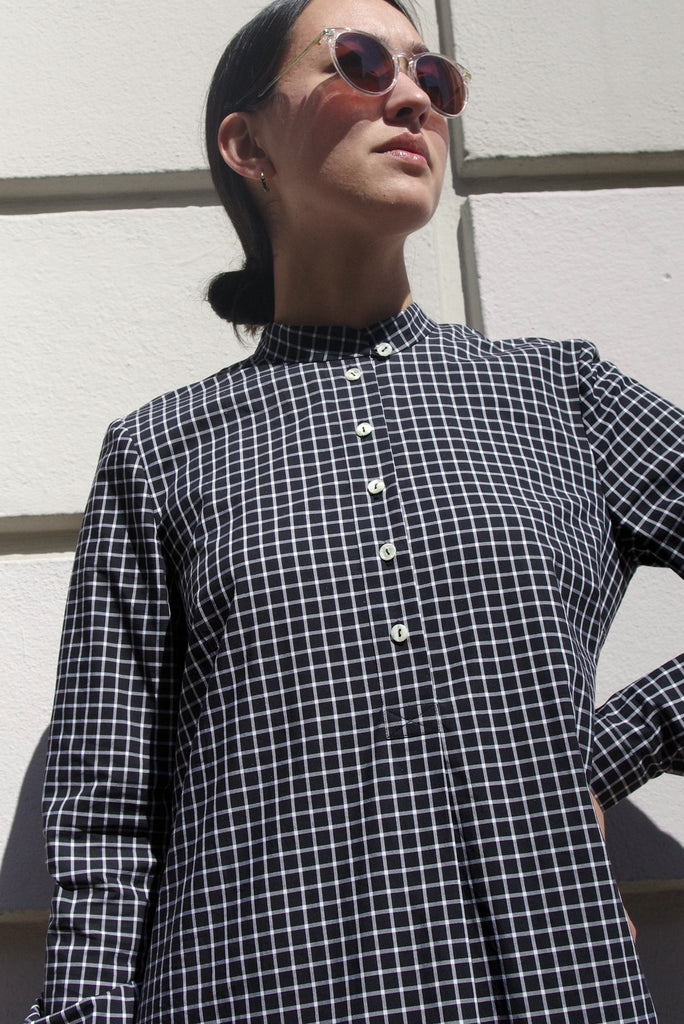 MANDRA DRESS  black check cotton