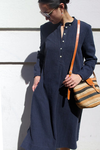 MANDRA DRESS, anthrazit blue linen
