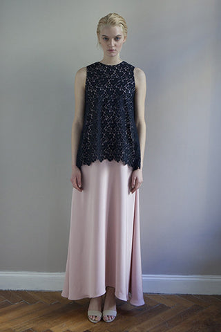 LONG LACE DRESS rose with dark blue