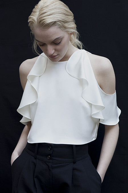 RUFFLE TOP off white