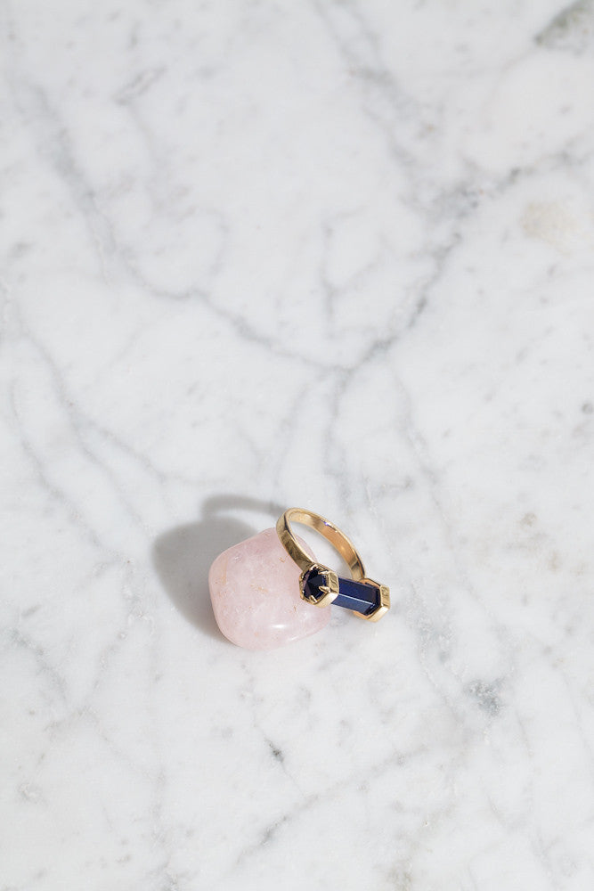 golden blue stone ring