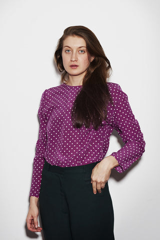 BASIC LONGSLEEVE purple dots