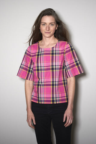 BASIC SHORTSLEEVE pink check