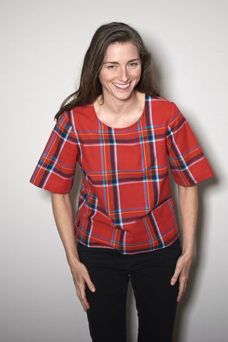 BASIC SHORTSLEEVE red check