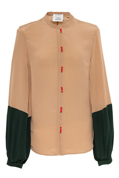 WIDE SLEEVE BLOUSE nude & english green