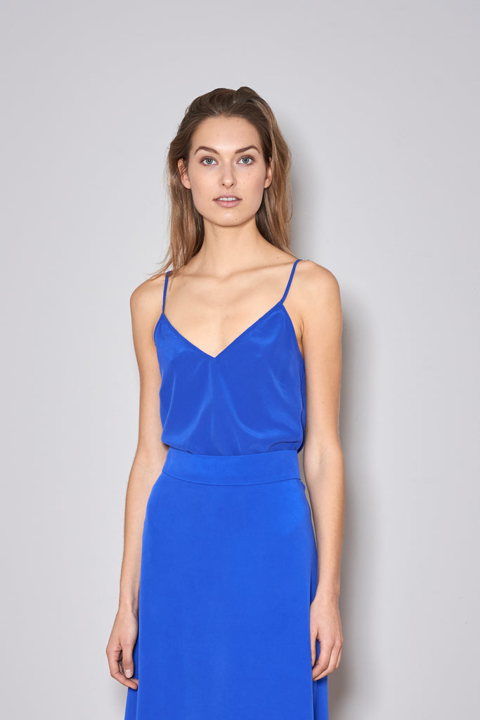 EASY SUMMER TOP electric blue silk