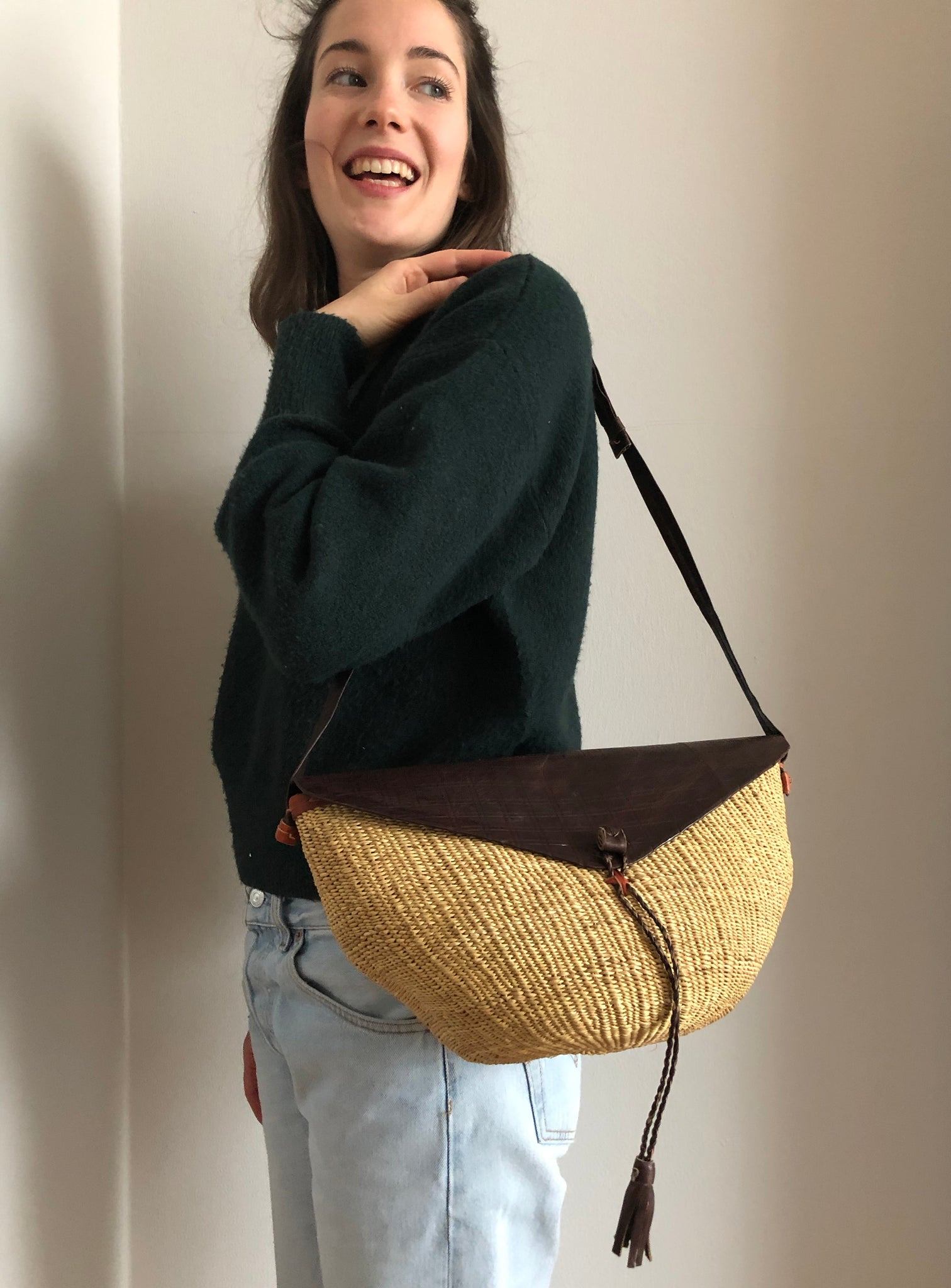 SISAL PURSE nature triangle
